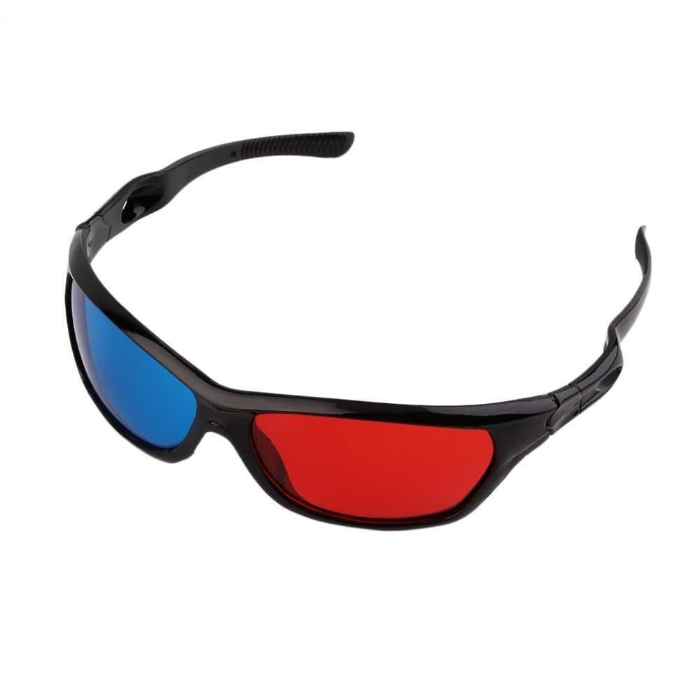2017 Nuevo Universal 3D gafas de plástico negro marco rojo azul 3D Visoin vidrio para Dimensional Anaglyph película Juego DVD Video TV