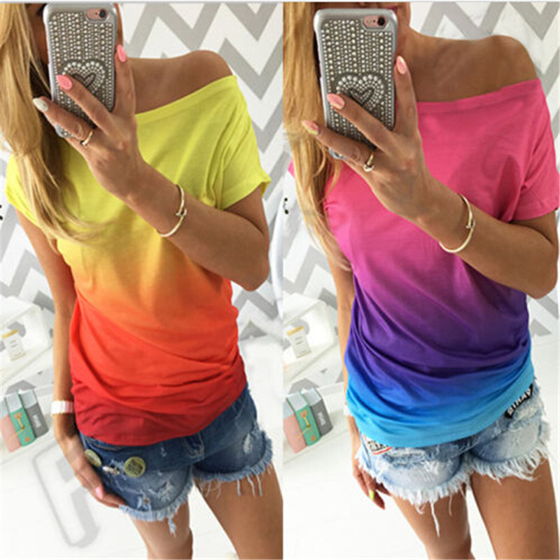 Fashion Tops Women Clothing Casual Short Sleeve Loose Summer Cotton Off Shoulder Top Shirts Blouses Blusas