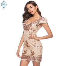 Ameision V Neck Spaghetti Strap Sequin Cocktail Party Dresses Women Sexy Mesh Streetwear Short Evening Dress 2019 Vestido
