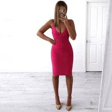 Ocstrade Summer New Arrival 2019 Spaghetti Strap Women Bandage Dress Elegant Deep V Pink Bandage Dress Bodycon Sexy Party Dress