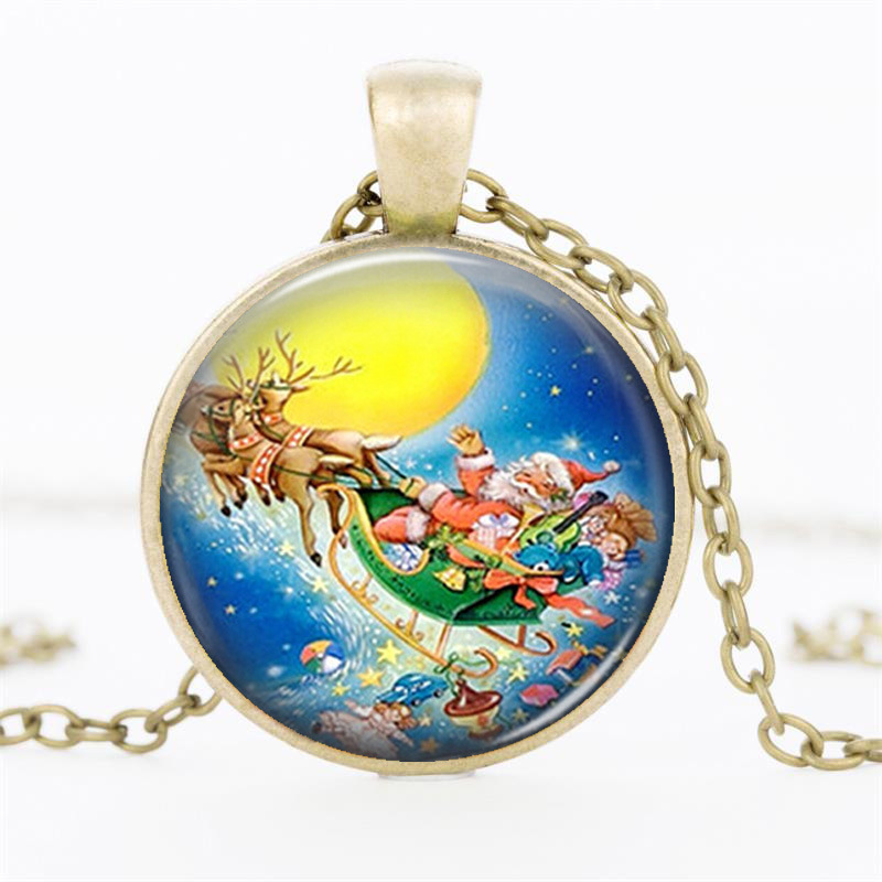 Vintage Bronze Chain Choker Necklaces For Women Jewelry Handmade Santa Claus Glass Dome Necklaces Pendants Black Friday 2016