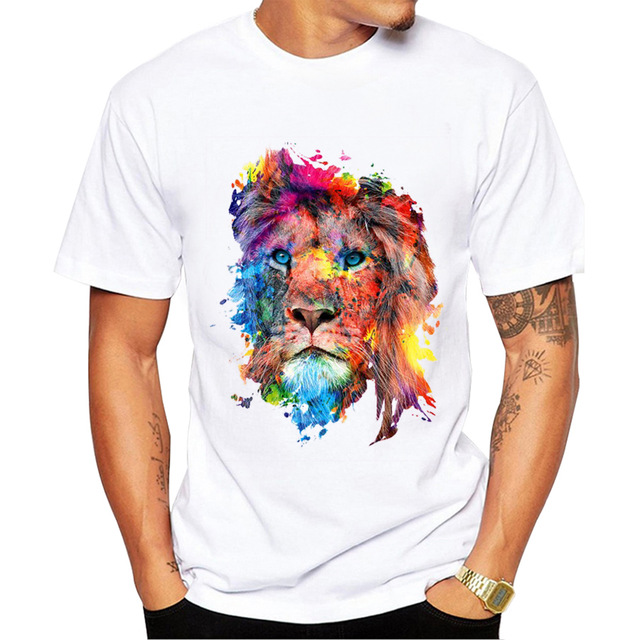 New Summer Fashion Colorful Lion Design T Shirt Men's High Quality Animal Tops Hipster Tees2018