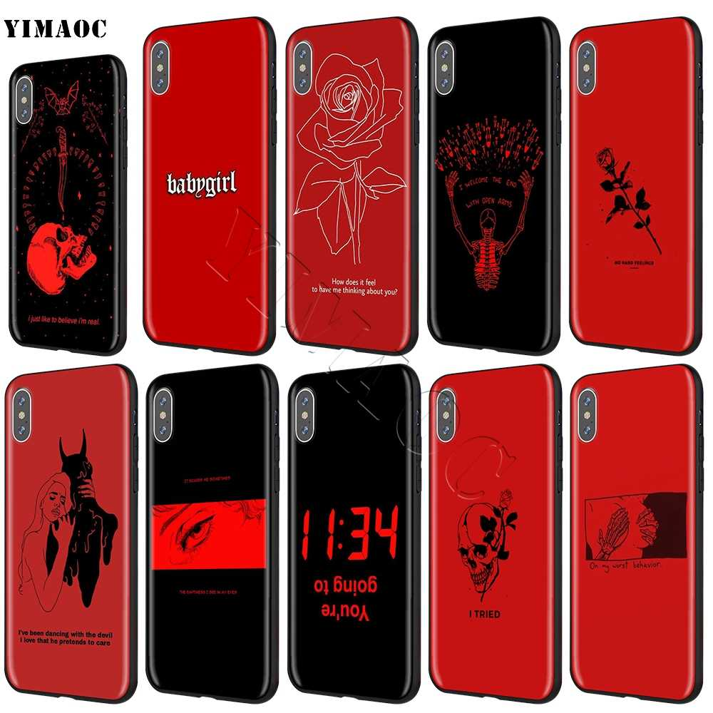YIMAOC Red Doodles Aesthetics Quotes Soft Silicone Case for iPhone 11 Pro XS Max XR X 8 7 6 6S Plus 5 5s se