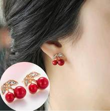 2018 New 1 Pair Fashion Big Lovely Cute Red cherry earrings rhinestone leaf bead stud earrings for woman girl gift jewelry(China)