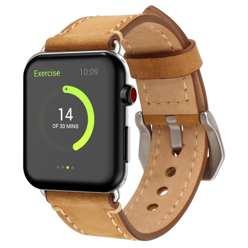 LEONIDAS Genuine Leather Crazy Horse Strap for Apple Watch Band Replacement Watch Band for Apple iWatch Bands 42mm vintage red brown crazy horse genuine leather watchband for apple watch 38mm 42mm women men replacement band strap for iwatch