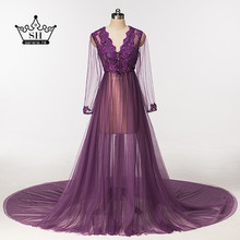 Sexy Long Sleeve Photography Evening Dresses 2017 Real Picture Purple V-neck Beaded Lace Formal Dress Party Vestido De Festa