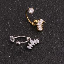 Sellsets 1 PC stali nierdzewnej CZ Hoop z cyrkonia dynda Ear helix Daith chrząstki wieża Piercing biżuteria tanie tanio Moda Ciało biżuteria Ze stali nierdzewnej Plug tunnel biżuterię TRENDY Geometryczne BD8GB91