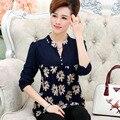 Novas mulheres de alta qualidade clothing primavera outono t-shirt senhora de manga comprida com decote em v soltas mãe plus size camisa pullover