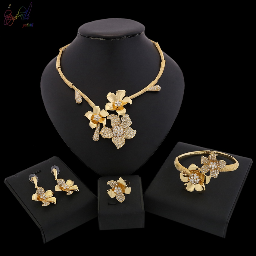 YULAILI Free Shipping Latest Fashion Trendy Jewelry Set for Women Pure Gold Color Necklace Earrings Bracelet Ring Set a suit of trendy rhinestone necklace bracelet ring and earrings for women
