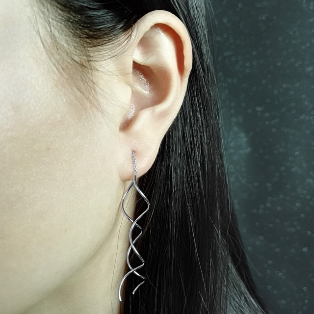 Unique Twisted Bar Long Line Chain Earrings white/Rose Gold Color Fashion Drop/Dangle Earring Jewelry Ear Cuff For Women DFE243 3
