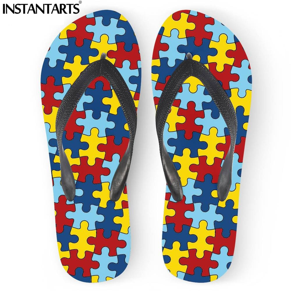 Home Useful Instantarts Colorful 3d Autism Awareness Printing Mens Outside Beach Slippers Mens Casual Shoes Fashion Home Flip-flops Boys Clear-Cut Texture