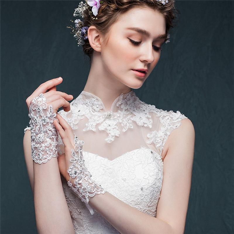 Bride Wedding Dress Short Gloves Beads Rhinestone Fingerless Lace Gloves Stylish