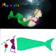 Новейший вязаный костюм русалки для новорожденных девочек, вязаный кокон русалки и повязка на голову, реквизит для фотосессии, детская одежда связанная крючком MZS-15072