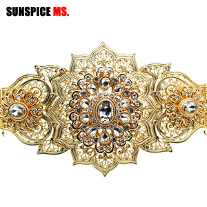 Image 5 - Sunspicems Fashion Moroccan Caftan Belt For Women Gold Silver Color Wedding Jewelry Evening Dress Crystal Link Chain Bridal Gift