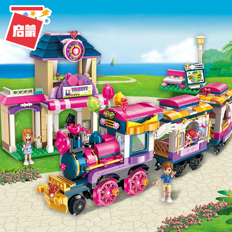 Enlighten Building Block Girls Friends Happy Little Train 690pcs Educational Bricks Toy Boy Gift-No Box