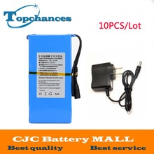 Wholesale 10PCS High Quality Newest Super Rechargeable Portable Lithium-ion Battery DC 12V 12000mAh DC1212A With Plug