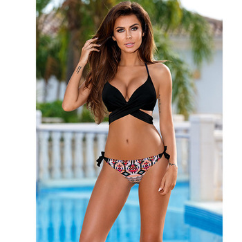 Cross Women Swimwear Swimsuit Halter Top Print Bathing Suit