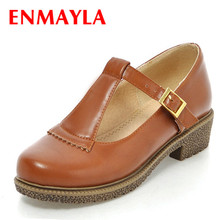 ENMAYER solid Vintage Carved date school shoes flats basic lace-up round toe comfort Platform large size:34-43 women