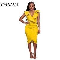 OMILKA 2017 Summer Women Sleeveless V Neck Ruffle Bandage Bodycon Dress Sexy Black Blue Yellow Red