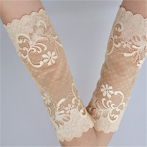 Floral Pattern Lace Decor Anti Dust Oversleeve Arm Protector Cover Sleeve Pair