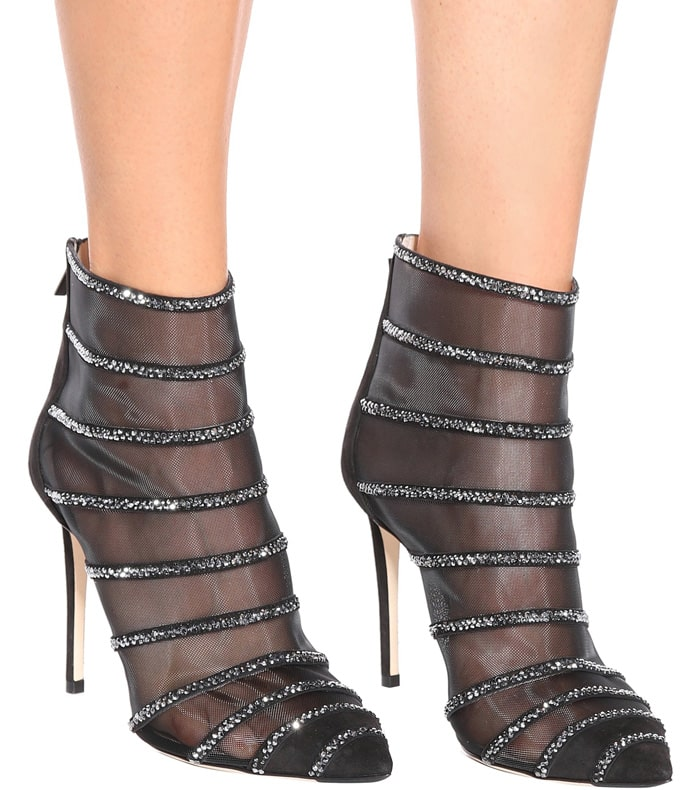 Crystal Studded Lace Ankle Boots Sexy Pointy Toe Botines Mujer 2019 High Heels Black Hollow Mesh Ladies Party Shoes Plus Size 44
