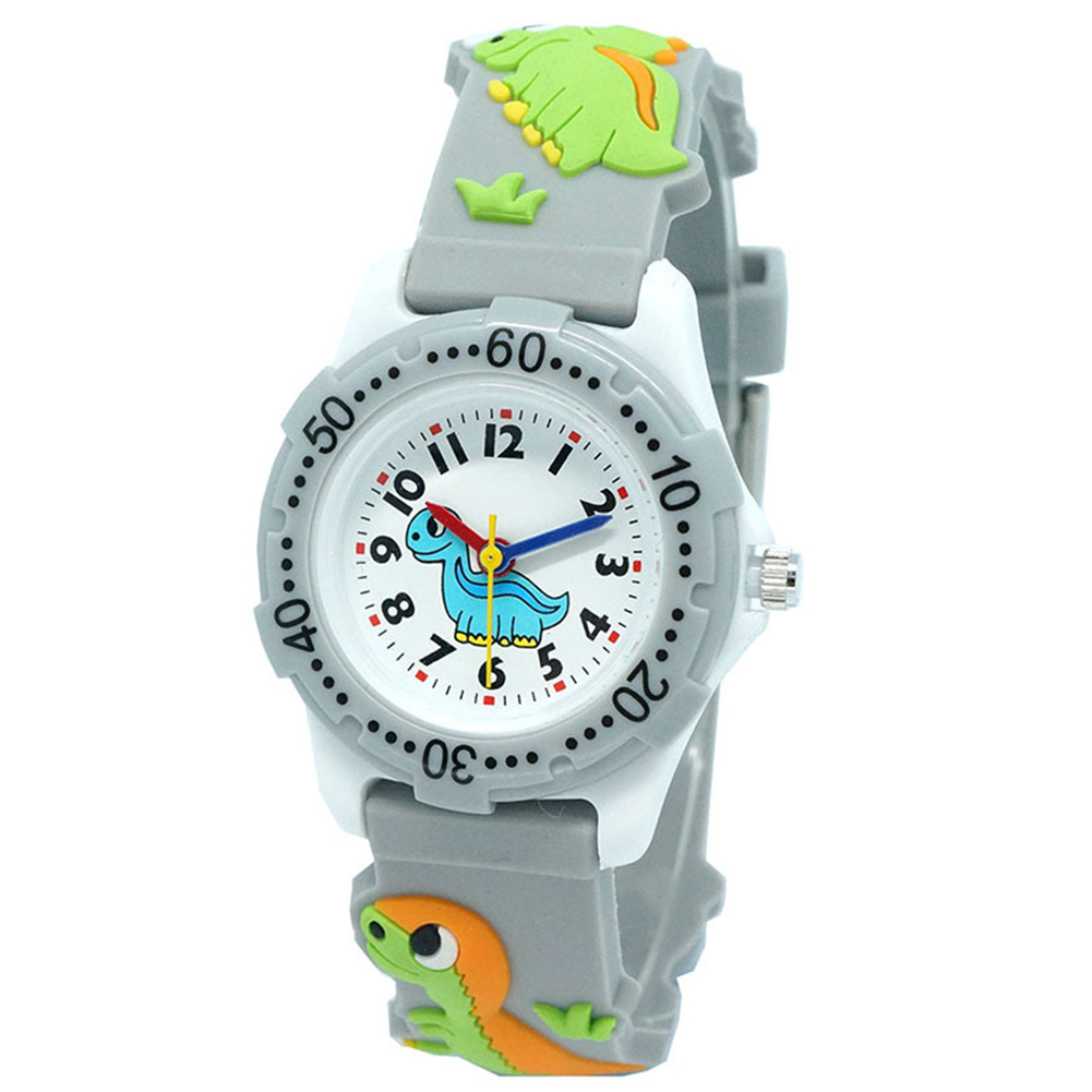 Dial Analog Round Watch Kids Children Quartz Movement 3D Cartoon Pattern Dinosaur Plastic 30M Waterproof