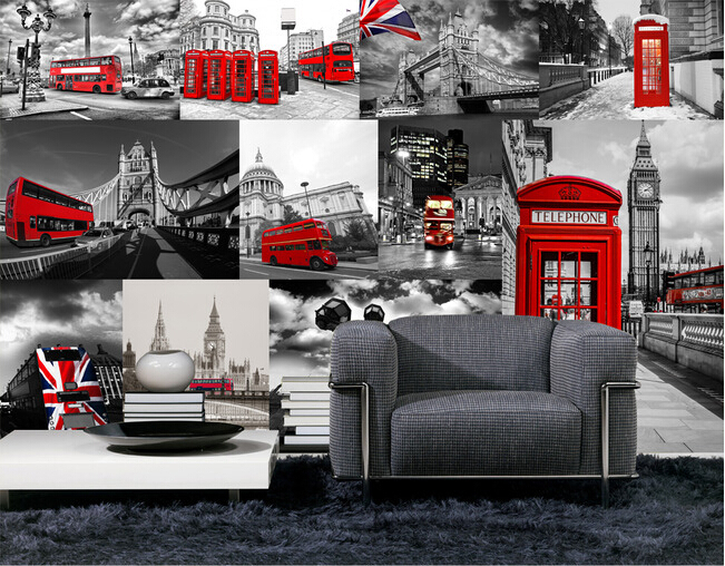 Custom wallpaper photo, retro London theme for the living room ...