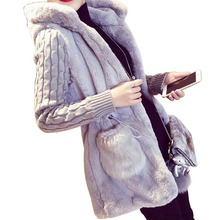 MCCKLE Women's Faux Fur Warm Hooded Jackets Knitted Long Sleeve Patchwork Cardigans 2016 Autumn Winter Fashion Women Coat