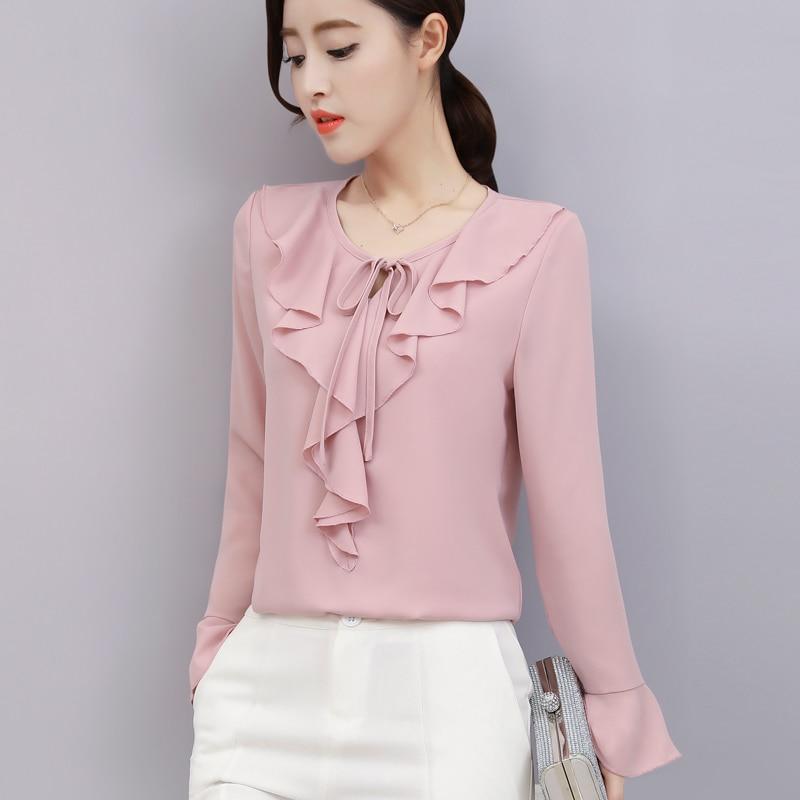 1ee5ef8a7a6 Купить Новинка 2018 года сезон весна лето для женщин шифоновая блузка  воланами рубашка с длинными рукавами свободные элегантные женские блузки Топ  Продажа ...