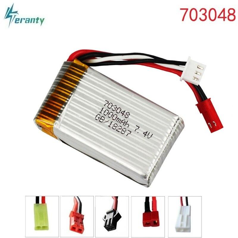 7.4 V 1000 mAh 703048 Lipo batería para mjxrc X600 batería Lipo 7.4 V 1000 mAh 25C 703048 batería de juguete
