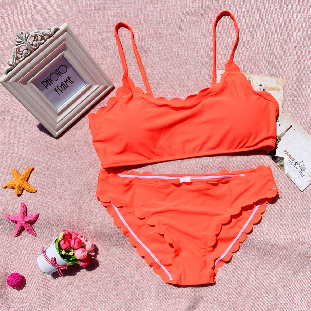 f1b370b0c5f5cc Scallop Edges Biikini Frill Swimsuit Solid Strappy Bikini Orange Swimwear  Padded Seamless Bikini Bathing Suit maillot Biquini