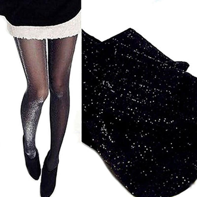 2019 Sexy Women Shiny Pantyhose Glitter Stockings Glossy Tights Step Foot Seamless Fishnet Mesh Skinny Elastic Stockings Silk