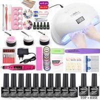 Nail Set UV LED Lamp Dryer 10/6pcs Nail Gel Polish Kit Soak Off Manicure set Lasting Gel Nail Polish Kit For Nail Art Tools