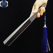Titanium Alloy Folding Fan Chinese Style Nine Inch Eighteen Square Metal Kung Fu Fan Men's Tactical Self-defense Tai Chi Fan cxm 001 eighteen arhats style agalloch bracelet coffee