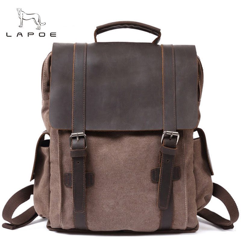 LAPOE Canvas Men's Backpack Youth Laptop backpack Schoolbag Large Capacity Vintage Military Travel Bag Rucksack Army School Bags men s casual bags vintage canvas school backpack male designer military shoulder travel bag large capacity laptop backpack h002