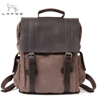 LAPOE Canvas Men S Backpack Youth Laptop Backpack Schoolbag Large Capacity Vintage Military Travel Bag Rucksack