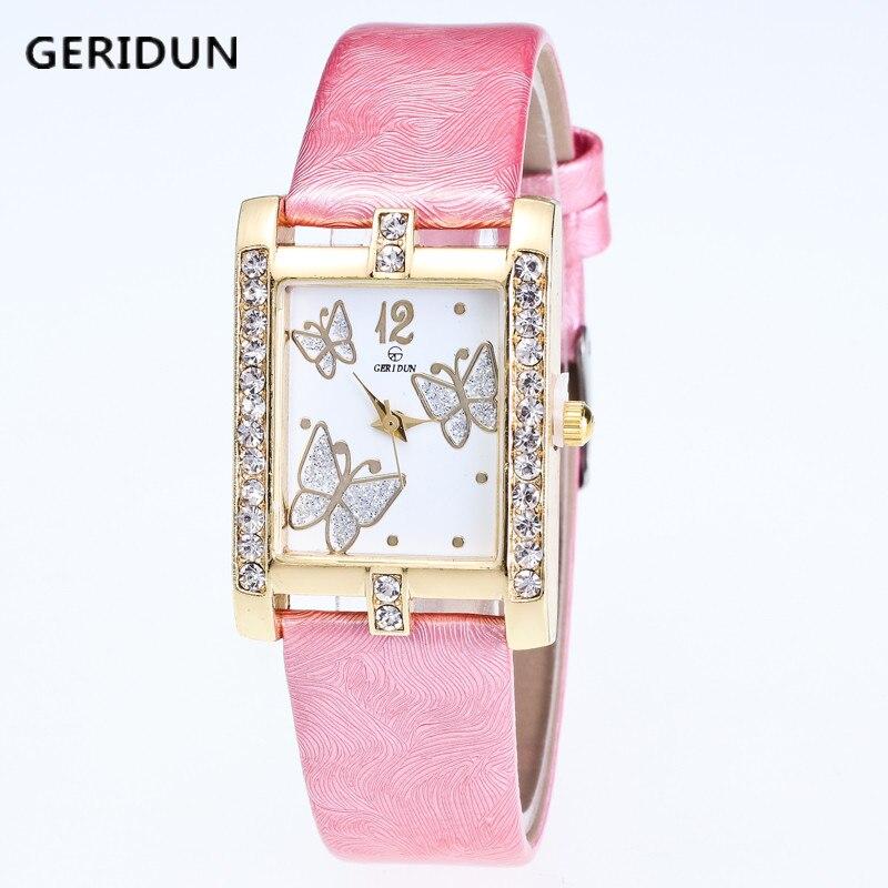 GERIDUN New listing Watch Women Watches Fashion Rhinestone Quartz Female Clock Crystal PU Leather Relogio Feminino