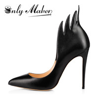 Onlymaker fashion famous designer High Heels Brand PU Leather Women Pumps Pointed Toe Shoes Woman Plus Size 15 women shoes