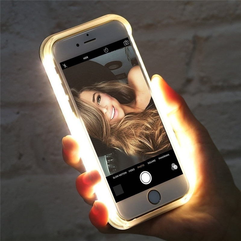 Funda de teléfono luminosa de lujo para iPhone 6 6 s 7 8 Plus X funda de luz de Selfie perfecta para iPhone 5 5S SE