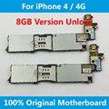 Para iphone 4/4g motherboard mainboard original 8 gb versión 100% desbloqueado con fichas completas ios instalado placa lógica