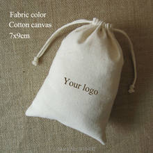 f42bd3a3c Canvas Drawstring Bag Cotton Pouches Jewelry/Gift/Wedding/Packaging/Wig/Shoe/Christmas  Sachet Pocket Custom Logo Print 100PCS