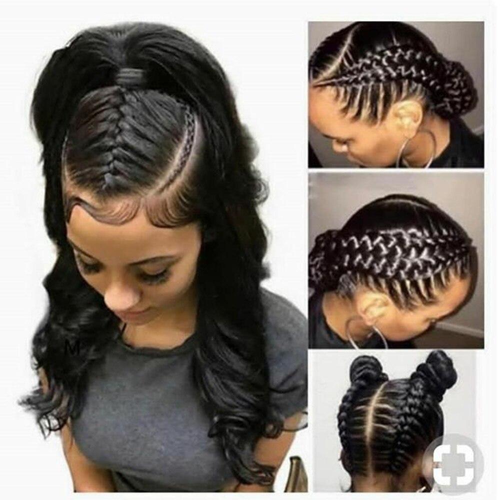 Transparente Cheia Do Laço Perucas Perucas de Cabelo Humano Com o Cabelo Do Bebê Onda Do Corpo Peruca de Cabelo Natural Para As Mulheres Negras Remy Peruano cabelo Aimoonsa