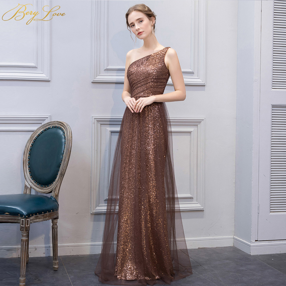 Beautiful Mermaid Maroon Sequin   Evening     Dress   2019 Long Tulle One Shoulder Golden Champagne Plus Size Women Formal   Evening   Gowns