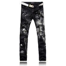 2016 Новый Стиль мужская Мода Джинсы Сексуальная Красоты 3D Печать дизайн Узкие Джинсы Прямые Slim Fit Брюки Ночной Клуб Длинные брюки