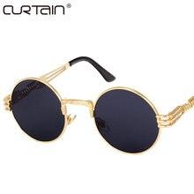 ba707466fc Gothic Steampunk Sunglasses Men Women Metal WrapEyeglasses Round Shades  Brand Designer Sun glasses Mirror High Quality UV400