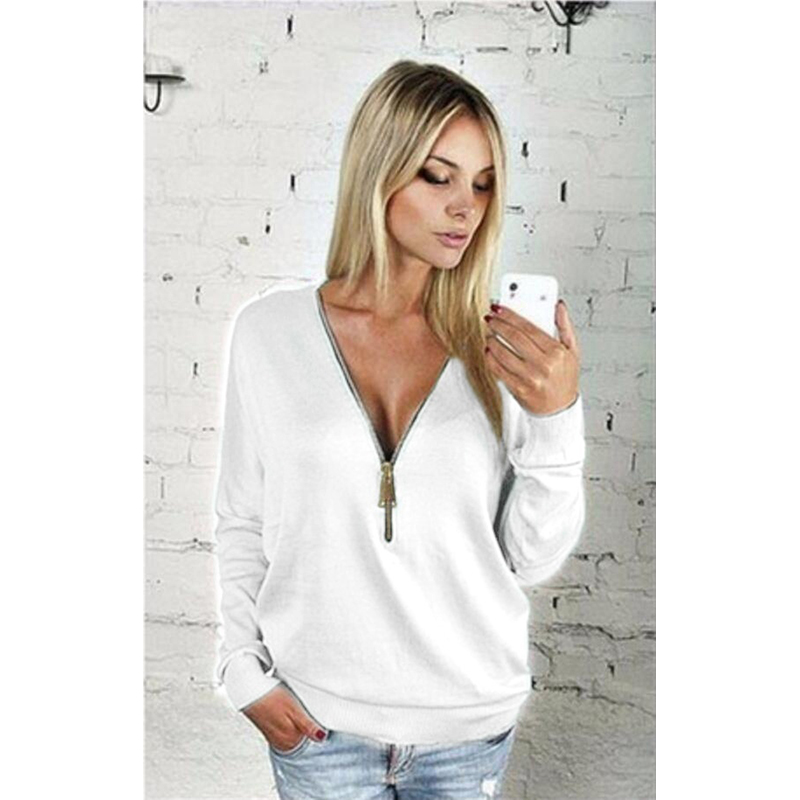 Women Sexy Fashion Batwing Sleeve Blouse Deep V Collar Zipper Sweater Long Sleeved T-shirt Plus Size S-5XL (14)