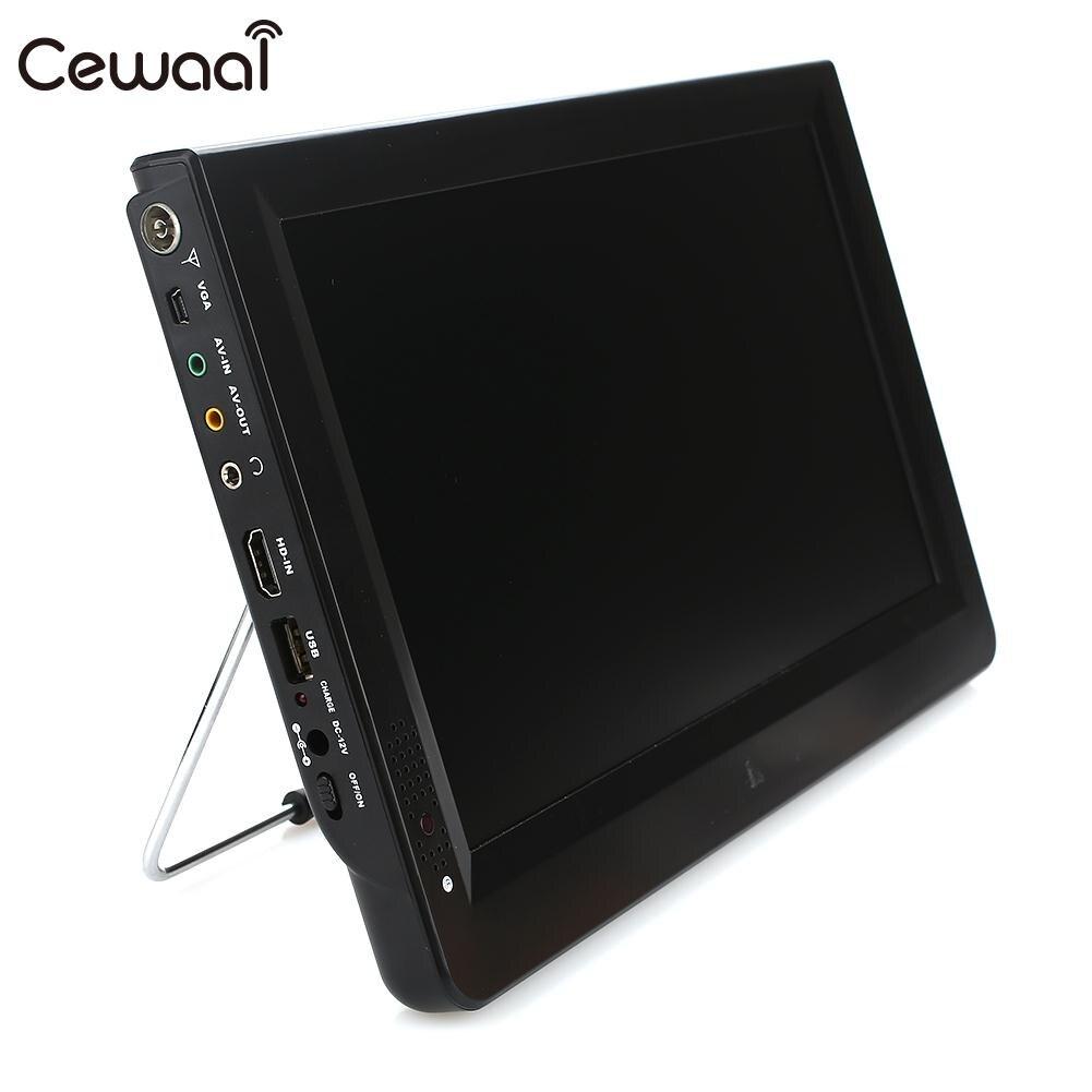 Cewaal Rechargeable TV numérique 11.6 pouces Support TF carte TFT LED Portable extérieur universel Portable numérique analogique TV