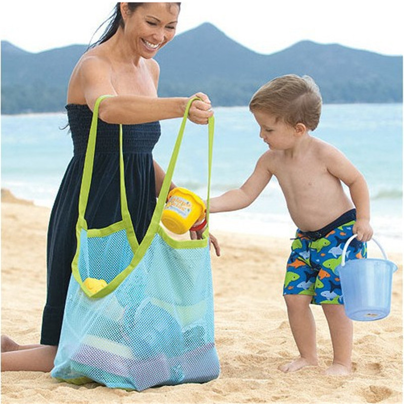 Hot Sale 1 Pc Kids Baby Sand Away Carry Beach Toys Pouch Tote Mesh Large Childrens Storage Bag Toy Collection