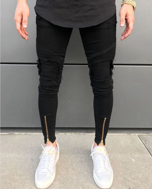 d8ad50c4457 2018 New Men Ripped holes jeans Zip skinny biker jeans black white jeans  with Pleated patchwork slim fit hip hop jeans men pants