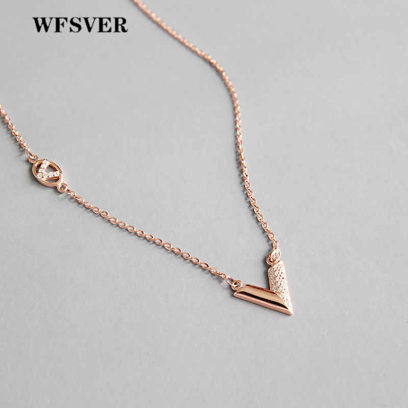 WFSVER 925 sterling silver champagne/silver color letter V shape crystal pendant necklace for women necklace fine jewelry